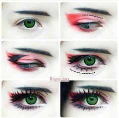 """Ran Mao Makeup Tutorial 🏮 - Lenses used in this tutorial are ,,Goblin"""" from. Cute Makeup, Glam Makeup, Makeup Inspo, Makeup Art, Makeup Inspiration, Beauty Makeup, Makeup Looks, Anime Eye Makeup, Anime Cosplay Makeup"""