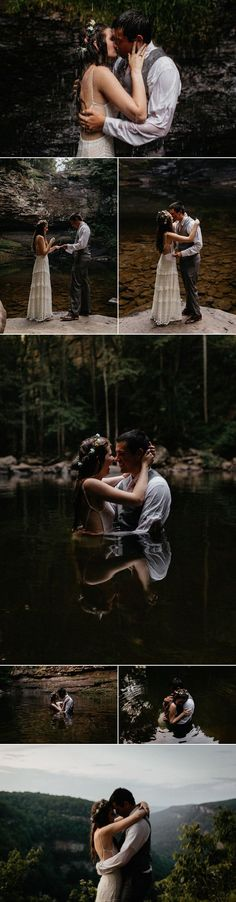 We love the way this couple incorporated a waterfall in this intimate elopement | Images by Cody & Allison Photography