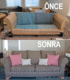 The best DIY projects & DIY ideas and tutorials: sewing, paper craft, DIY. DIY Furniture Plans & Tutorials : do it yourself divas: DIY Strip Fabric From a Couch and Reupholster It -Read Refurbished Furniture, Furniture Makeover, Sofa Makeover, Vintage Furniture, Furniture Projects, Home Projects, Trendy Furniture, Diy Furniture Couch, Furniture Movers