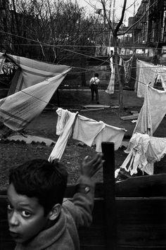 Richard Kalvar -  New York City. Manhattan. Tenement backyard. 1967.