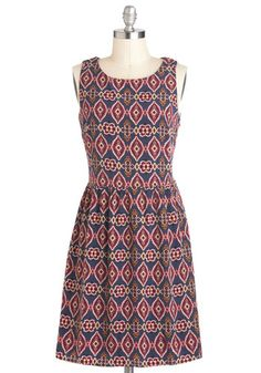 Pixelate Afternoon Dress - Mid-length, Multi, Print, Casual, Folk Art, A-line, Sleeveless, Tis the Season Sale ~ Modcloth