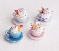 Miniature Assorted Hot Chocolate with Whip Cream, Looks so Creative & Cute. ❤