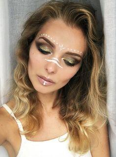 Augen Make Up Indianer - Make-Up und Tattoo - New Ideas Festival Makeup Glitter, Glitter Makeup, Boho Festival Makeup, Glitter Face, Glitter Paint, Maquillage Halloween, Halloween Makeup, Rave Face Paint, Neon Face Paint