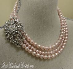 Pretty+in+Pink+Pearl+Brooch+Necklace+Set++by+AlexiBlackwellBridal,+$89.00