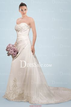 Fancy Ivory Strapless Neckline Bridal Dress with Lavish Ruches and Shimmering Beaded Applique and Embroidery