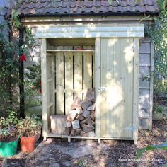 Tall Garden Store with Log Store (5ft wide) - view 1