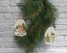 Set of 2 Houses Christmas ornaments Houses ornaments Houses tree decorations Holiday decorations Houses decorations Houses hangers