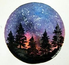 Six inch watercolor Galaxy with acrylic stamped trees and spattered stars. - Steffi Grasse - Six inch watercolor Galaxy with acrylic stamped trees and spattered stars. Six inch watercolor Galaxy with acrylic stamped trees and spattered stars. Stone Painting, Diy Painting, Painting & Drawing, Rock Painting, Galaxy Painting, Galaxy Art, Diy Galaxy, Watercolor Galaxy Tattoo, Vinyl Record Art