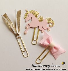 Planner Clip - Gold & Pink Unicorn Clip Set