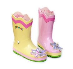 These Kidorable Pink and Yellow Lotus Flower Rubber rain boots are adorable with their light pink and yellow colors and the three dimensional lotus flower on the toe of the boots.