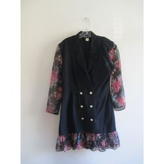 Vintage Rampage Black Rose Floral Print Double Breasted Pearl Button Long Sheer Sleeve Mini Suit Dress Sz 9 Medium