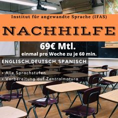 Nachhilfe alle Sprachstufen! einmal pro Woche zu je 60 Min. um nur 69€ mtl. #IfaS #Nachhilfe #Englisch #Deutsch #Spanisch #Französisch Einstein, Learn Languages, Spanish, Bathing
