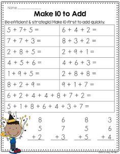addition, make 10 to add, measuring, money, base Math For Kids, Fun Math, Maths, Math Resources, Math Activities, Math Worksheets, Math Classroom, Kindergarten Math, Second Grade Math