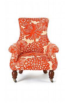 bold orange floral hollywood regency armchair from anthropologie