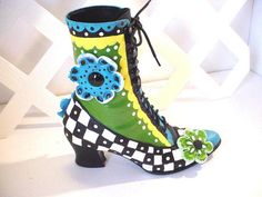 Funky Mad Hatter Funky Boot Vintage Granny Boot by BuzyBeeBlooms, $95.00