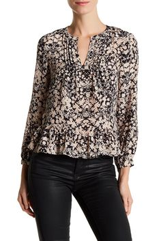 Image of Rebecca Taylor Floral Printed Silk Ruffle Blouse