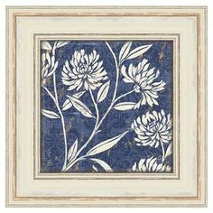 """Featuring a floral motif in blue, this eye-catching print adds chic appeal to your entryway or master suite.  Product: Art printConstruction Material: PaperColor: White frameFeatures:  Floral motifMade in the USADimensions: 20"""" H x 20"""" W (framed)"""