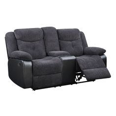 USA Grey and Console Reclining Loveseat