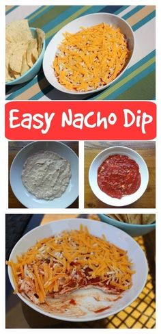 Easy Nacho Dip Recipe - 5 Ingredient Nacho Dip - Easy Nacho Dip recipe – With just 5 ingredients it is quick to make up and keeps well in the fri - Easy Nacho Dip Recipe, Dip Recipes, Appetizer Recipes, Snack Recipes, Appetizers, Recipies, Easy Snacks, Yummy Snacks, Yummy Food
