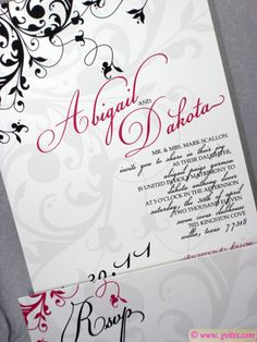 This is fun flourish and pink wedding invitation