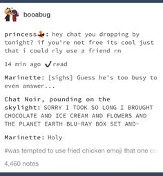 I honestly think Marichat is my favorite from the love square it's just so pure Miraclous Ladybug, Ladybug Comics, Bugaboo, Lady Bug, Funny Memes, Hilarious, Miraculous Ladybug Fan Art, When Things Go Wrong, Fandoms