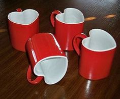 Set of 4 Red Heart Shaped Lovers Special Glazed Ceramic Mugs 4 Mugs Valentine Love, Valentines, Saint Valentine, Red Aesthetic, Aesthetic Pictures, Cookie Run, Glazed Ceramic, Ceramic Mugs, My New Room