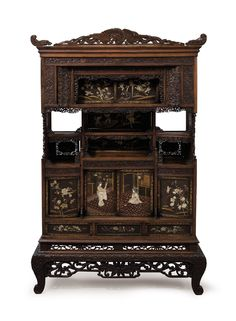 A CARVED HARDWOOD CABINET - MEIJI PERIOD (LATE 19TH CENTURY).