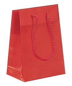 Noble Gift Packaging's  high quality red frosted plastic shopping bags come in sturdy 4 mil HDPE plastic, with matching cord handles and wide side and bottom gussets. They have fold over tops and a cardboard insert at the base for added strength.
