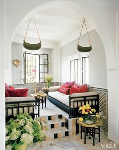 this could work in a couple of steps down rather than up  Bruno Frisoni Vogue Moroccan home living room