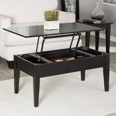 Turner Lift Top Coffee Table - Black - This would be an awesome way to make it easier to eat at the livingroom table - I hate having my food at dog level if we want to eat and watch tv!