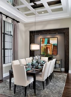 Transitional dining room coffered sealing