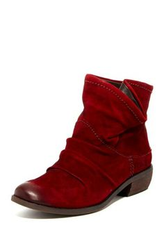 """Monet Scrunched Bootie by FERGIE  - Round toe - Scrunched upper detail with snap button foldover detail - Stacked heel - Approx. 5"""" shaft height, 10"""" opening circumference - Approx. 1.5"""" heel - Imported Materials Leather upper, manmade sole $95"""
