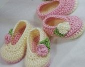 Baby Ballet Slippers Crochet Pattern  for Baby Rosey Ballet Slippers -  4 sizes - Newborn to 12 months.. $5.95, via Etsy.