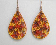 Pendientes de quilling cobre metálico sobre el por BarbarasBeautys