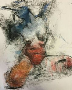 Figure drawing by George Dawnay. Conté and pastel on paper. Body Drawing, Life Drawing, Figure Painting, Painting & Drawing, Art Sketches, Art Drawings, Figure Drawings, Figure Sketching, Pastel Drawing
