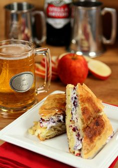 Brie and Apple Grilled Cheese Sandwich with Cranberry and Mustard Mayonnaise Paired with Hard Cider