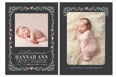 Botanical Birth Announcements by Jamie Schultz Designs