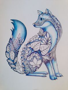 More coloring on the fox.  Enchanted Forest adult coloring book by Johanna Basford