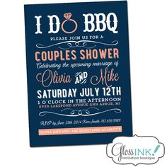 Navy Blue, Coral Pink, BBQ Couples Wedding Shower Invitation