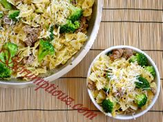Ingredients for Sausage and Broccoli Pasta:      1 pound Italian pork sausages     1 medium onion, chopped     2 cloves garlic, minced     8 ounces cream of broccoli soup     ½ Cup milk     12 ounces frozen broccoli     ½ Cup shredded Parmesan cheese     4 cups bow-tie pasta, cooked  http://scrumptiouz.com/sausage-and-broccoli-pasta/