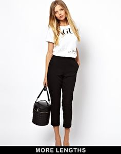 Enlarge ASOS Crop Trousers with Clean Waistband