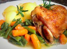 Recept Pečená česneková kuřecí čtvrtka a dušené fazolky s baby karotkou