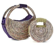 Recycled newspaper and plastic bottle handbags, out of a female artist co-op in Brazil. Newspaper Bags, Recycle Newspaper, Newspaper Crafts, Recycled Paper Crafts, Recycled Magazines, Paper Jewelry, Paper Beads, Magazine Crafts, Paper Weaving