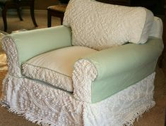Custom Slipcovers by Shelley: Chenille bedspread chair slipcover