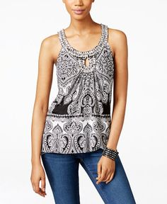 INC International Concepts Printed Keyhole Halter Top, Only at Macy's