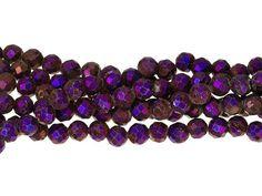 Dakota Stones Purple Druzy Agate 6mm Faceted Round Bead Strand