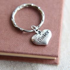 Sister Keychain Sister Keyring Sisters Keychain by JKWaccessories.$4.00.  Etsy