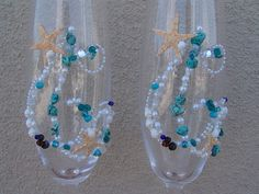 Beach Wedding Custom Designed Champagne Glasses by seashellsbyseashore, $64.00