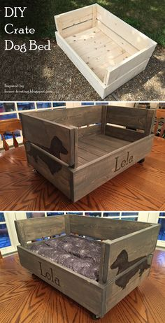 A made-from-scratch bed for my little doggie friend, Lola. Just one coat of Minwax gray stain made it look like weathered barn wood! #sansfur