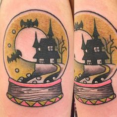 A simple and cute looking Halloween tattoo design in a globe. Inside the globe you can find a seemingly haunted house looking structure with the full moon behind and a group pf bats hovering above it. Makeup Tattoos, Body Art Tattoos, Hand Tattoos, Halloween Symbols, Halloween Tattoo, Scary Tattoos, Cool Tattoos, Gotik Tattoo, Tatoo